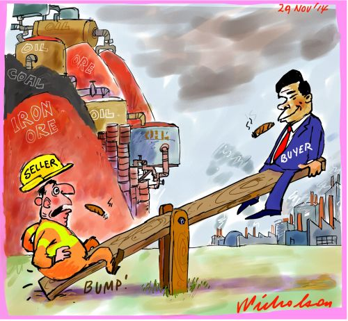 Oil iron price collapse seesaw Business cartoon 2014-11-29