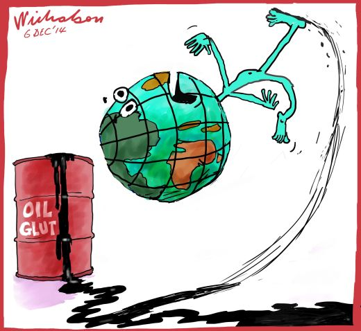 World slips on Oil glut Business cartoon 2014-12-06