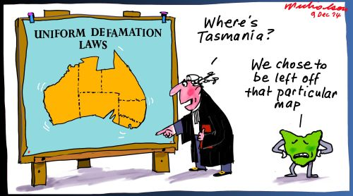 Tasmania non-uniform defamation Margin Call cartoon 2014-12-09