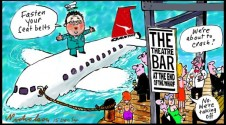 Qantas at Theatre Bar on way up Margin Call cartoon 2014-12-15