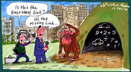East West Link missing costings Margin Call cartoon 2014-12-16