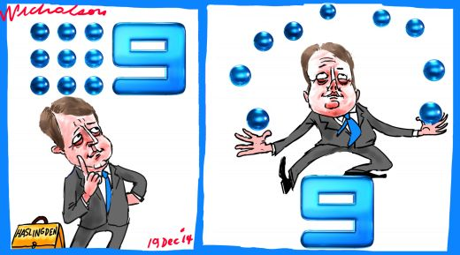 Haslingden Channel 9 Nine juggle Margin Call cartoon 2014-12-19