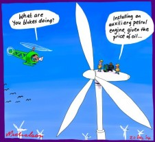 Oil price very low affects wind power auxiliary Business cartoon 2014-12-20