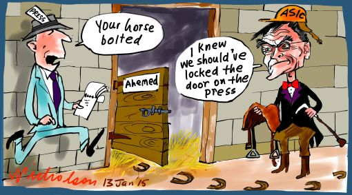 ASIC Medcraft Ahemed bolted Margin Call business cartoon 2015-01-13
