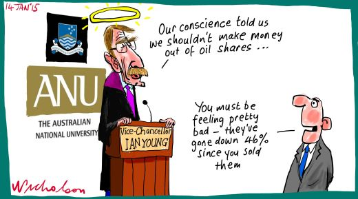 ANU sells Santos shares to avoid profiting for avoid global warming Margin Call business cartoon 2015-01-14