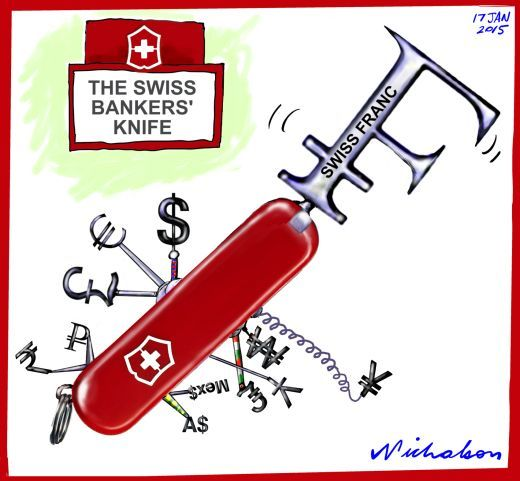 Swiss Franc floated business cartoon 2015-01-17