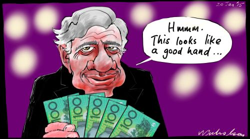 Michael Kroger poker champ Margin Call business cartoon 2015-01-20