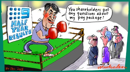Gyngell punchy mood on shareholders margin call  cartoon 2015-01-30