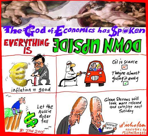 Upside down economics deflation oil glut aussie dollar Business cartoon 2015-01-31