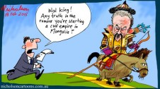 Wal King to Mongolia Margin Call business cartoon 2015-02-18