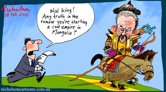 Wal King to Mongolia Margin Call business cartoon 2015-02-18