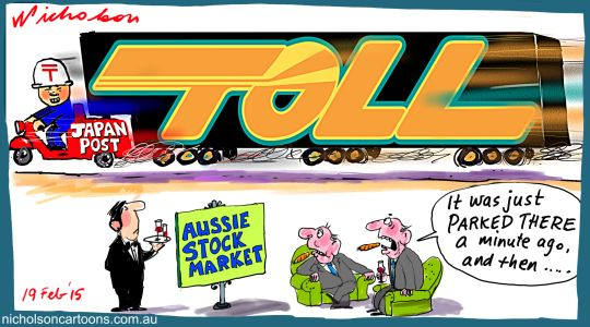 Japan Post get Toll Margin Call business cartoon 2015-02-19