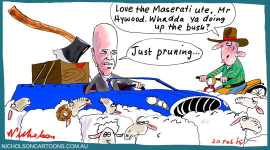 Greg Hywood visits rural papers Margin Call business cartoon 2015-02-20