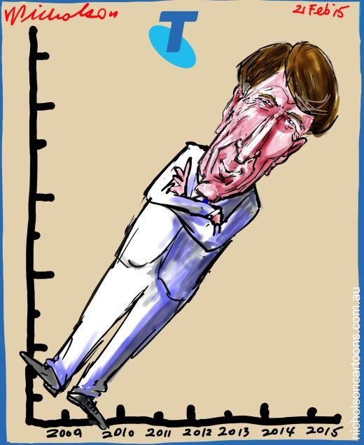 Thodey leaves Telstra good nick Business cartoon 2015-02-21