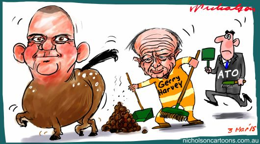 NathanTinkler Gerry Harvey ATO horse droppings Margin Call cartoon 2015-03-03