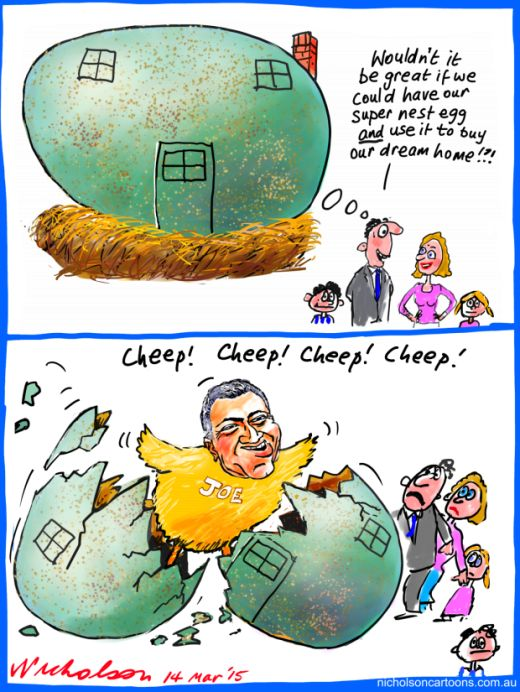 Joe Hockey idea buy home with super Business cartoon 2015-03-14
