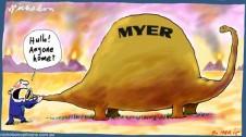 Myer dinosaur shares fall Margin Call cartoon 2015-03-20