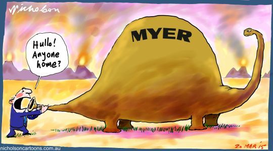 Myer dinosaur shares fall Margin Call cartoon 2015-03-20