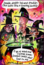 Housing boom three witches ASIC APRA Glenn Stevens Reserve Bank Double Double Toil and Trouble Business cartoon 2015-03-21