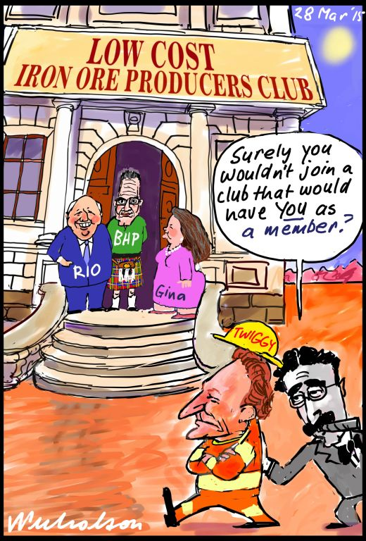 Twiggy Forrest can't join club of low cost iron ore miners Business cartoon 2015-03-28