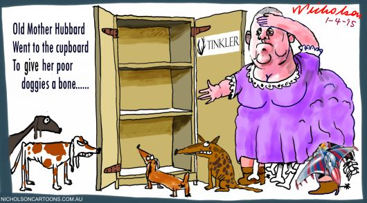 Nathan Tinkler Old Mother Hubbard Margin Call Australian cartoon 2015-04-01