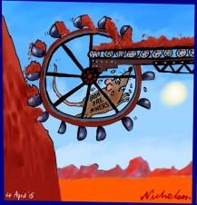 Iron ore miners rats on treadmill Business Australian cartoon 2015-04-04