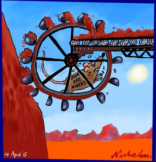 Iron ore miners rats on treadmill Business Australian cartoon 2015-04-04