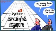 BHPbilliton BHP Singapore hub tax avoidance or minimization Australian Business cartoon 2015-04-08