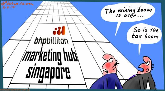 BHPbilliton BHP Singapore hub tax avoidance or minimization Australian Business cartoon 2015-04-08