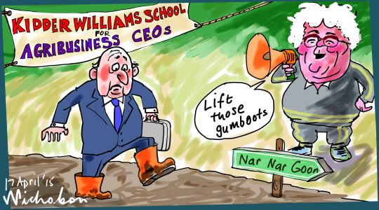 Kidder Williams conferecne summary urges agribusiness CEOs go to bush Margin Call Australian cartoon 2015-04-17