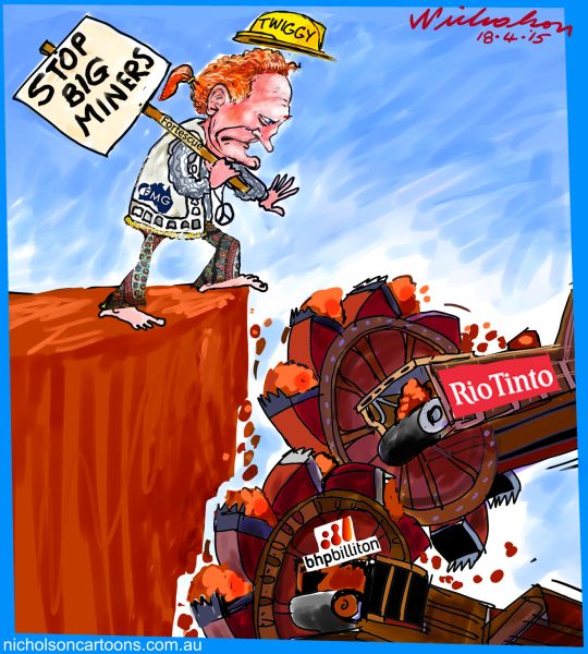 Twiggy Forrest anti-mining hippy protest BHP RIO Business cartoon Australian 2015-04-17