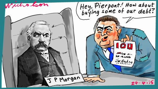 John Pierpont Morgan Hockey debt Margin Call cartoon Australia 2015-04-24