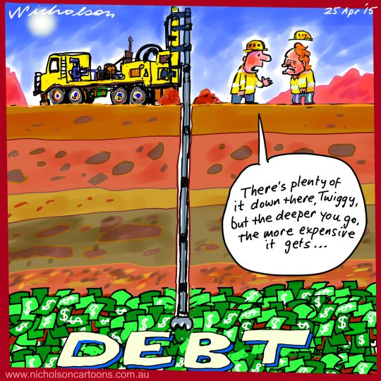 Twiggy goes deeper debt Business cartoon 2015-04-25