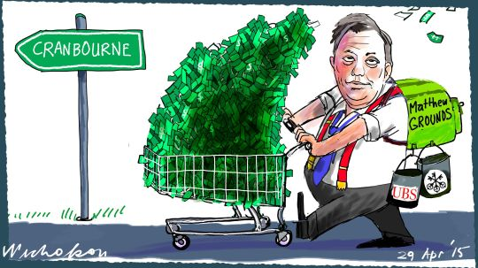 Matthew Grounds Macquarie Bank Cranbourne Margin Call Australia cartoon 2015-04-29