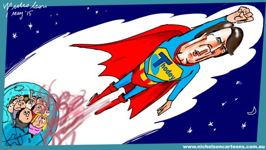 Thodey as superman exit Telstra Margin Call Australian cartoon  2015-05-01