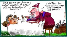 Chris Richardson prediction on budget possible Joe Hockey disaster Margin Call Australian cartoon 2015-05-05