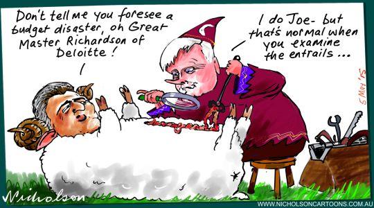 Chris Richardson prediction on budget possible Joe Hockey disaster Margin Call Australian cartoon 2015-05-05