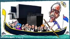 Mordant carries pavilion into Venice with celebration  Margin Call cartoon Australian 2015-05-06