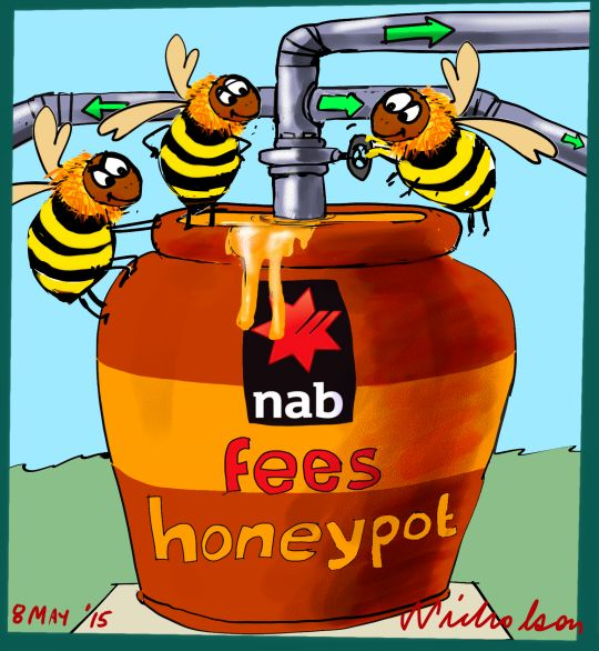 NAB rights issue honey pot of management fees for Macquarie etc Margin Call cartoon Australian 2015-05-08