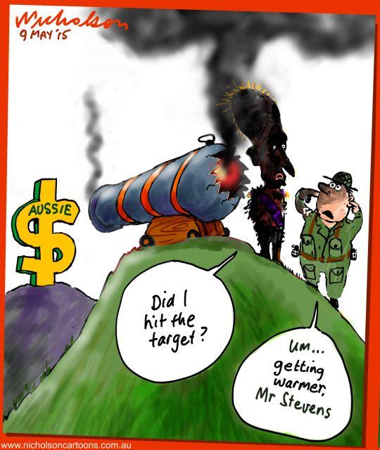 Glenn Stevens cuts interest but dollar rises after hints no more rates drops Business cartoon Australian 2015-05-09