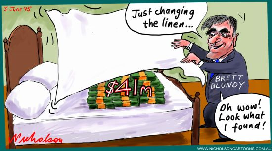 Brett Blundy 41 million linen  Australian cartoon  Margin Call  2015-06-03