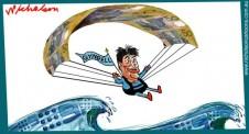 Gyngell soars over Channel Nine share price waves  Australian business cartoon  Margin Call 2015-06-10