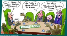 Woolworths WOW defined benefits scheme criticised by market Margin Call cartoon Austrralian 2015-06-19