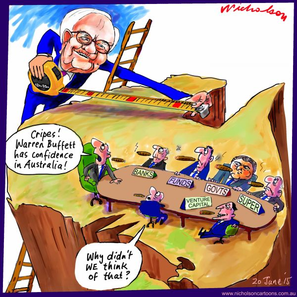 Warren Buffett eyes Australia for investment Australian business cartoon 2015-06-20