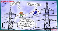 Power privatization NSW Ferguson Grounds highwire act Margin Call cartoon Australian 2015-06-24
