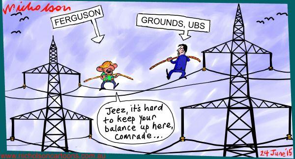 Power privatization NSW Ferguson Grounds highwire act Margin Call cartoon Australian 2015-06-24