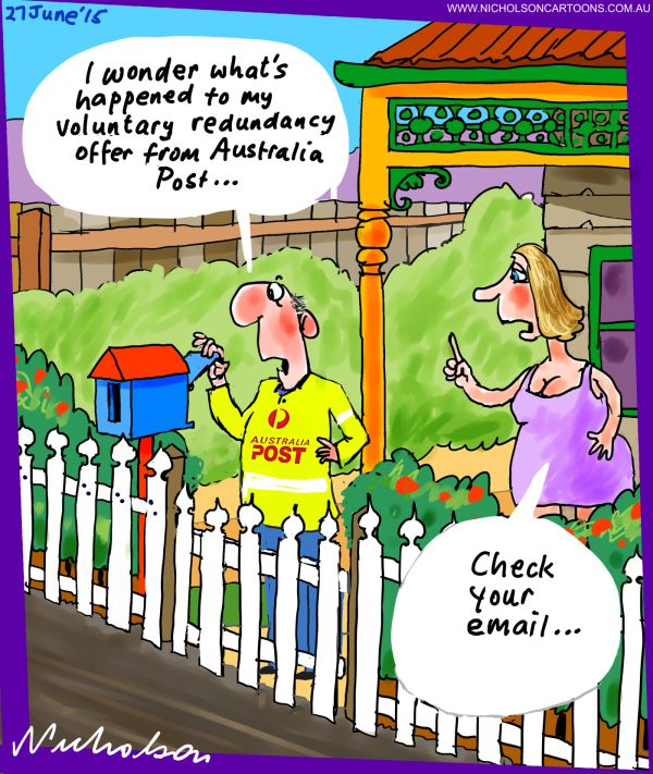 Australia Post redundancies email Australian business cartoon 2015-06-27