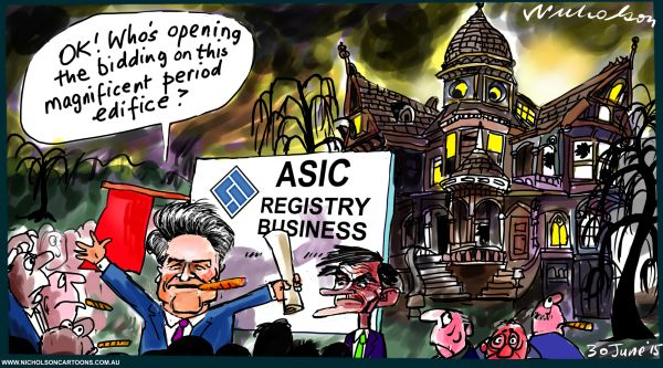 ASIC Registry Medcraft Cormann auction registry business ghost house Australian Margin Call cartoon business 2015-06-30