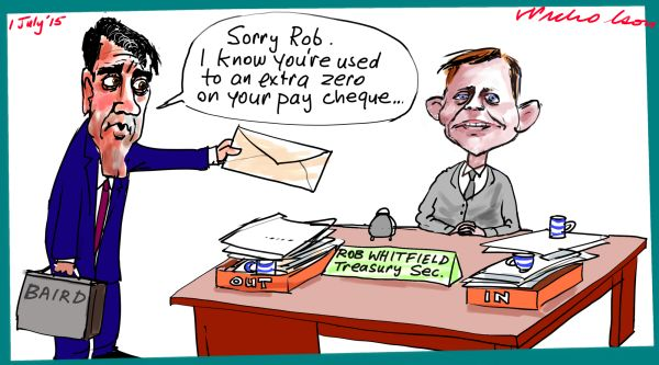 Rob Whitfield less one zero Baird Margin Call cartoon Australian 2015-07-01