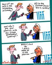 Greeks vote on Austerity pension Australian business cartoon 2015-07-04
